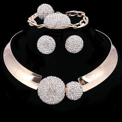 Women Gold/Silver Plated Crystal Necklace Bangle Earring Ring Party Jewelry Sets