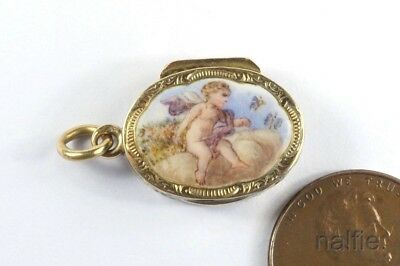 ANTIQUE FRENCH 18K GOLD ENAMEL CUPID / CHERUB MINIATURE VINAIGRETTE CHARM c1820