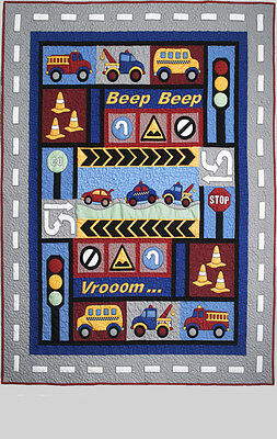 Traffic Jam Children's Single Quilt  Applique Quilt Pattern Kids Quilts
