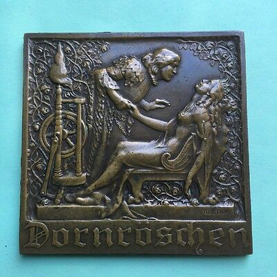 Karl Perl bronze art plaque Dornroschen art noveau desk medal RARE 1920-1930