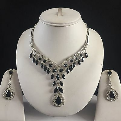 Black Silver Indian Costume Jewellery Necklace Earrings Crystal Diamond Set New