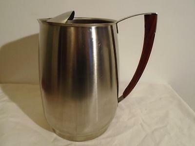 Vintage West Bend Stainless Steel Water Pitcher Teak Handle & Ice Guard 2 1/2 Qt
