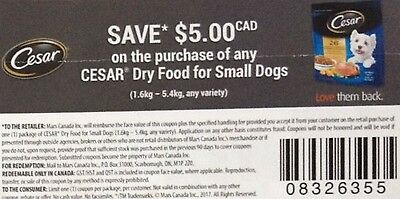 coupons CESAR DENTALIFE CHEW DOG CHOW food treats + Bonus [Canada]
