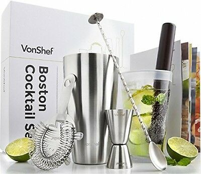 VonShef Luxury Boston Cocktail Shaker Set In A Gift Box With Recipe Guide, Ring