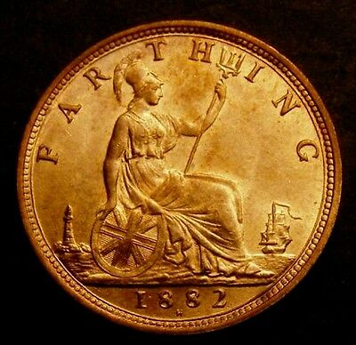 1882 H Choice UNC Queen Victoria Farthing Freeman 549 CGS 82, MS64-65