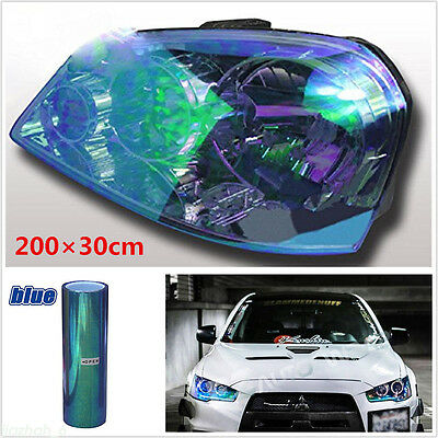 Chameleon Blue Front And Rear Lamp Vinyl Wrapping Sheet Film Sticker 200x30cm