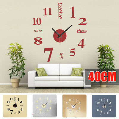 Modern DIY 3D Mirror Surface Large Number Wall Clock Sticker Home Office Decor