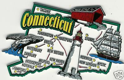 Connecticut  Ct  State Map Outline Tourist   Jumbo Magnet  Hartford