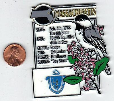 MASSACHUSETTS  STATE MONTAGE FACTS MAGNET with state  bird  flower  and flag,