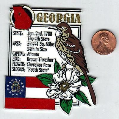 GEORGIA  STATE MONTAGE FACTS MAGNET with state  bird  flower  and flag,
