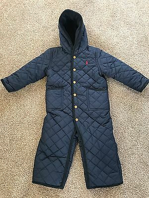 Ralph Lauren Baby Boy Padded Navy Footless Snowsuit With Gloves 18 Months