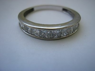 18ct white gold channel set princess cut natural diamond eternity ring