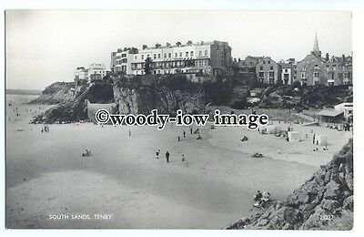 tq1374 - View across the South Sands, & Hotels on Cliff,   at  Tenby - postcard