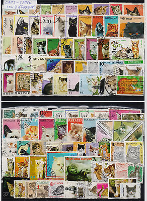 Cats Selection Of 100 Different Used Stamps. Combined Shipping
