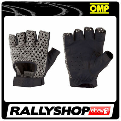 Classic driving gloves OMP TAZIO Vintage Leather Grey Black smooth leather