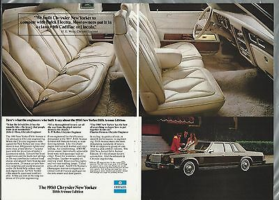 1980 CHRYSLER NEW YORKER 2-page advertisement, Chrysler ad, Fifth Avenue Edition