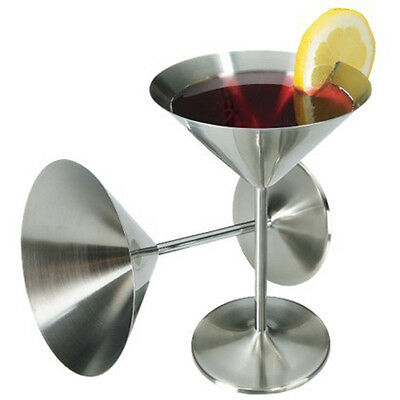 Set of 2: Vintage Retro Stainless Steel Cocktail Glasses Goblets Martini Cosmo