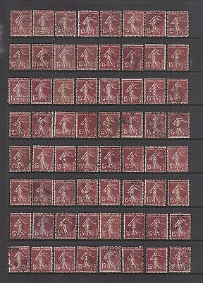 FRANCE #165 Lot of 128 Stamps Used 15c Red Brown 1926 SOWER SCV $32.00