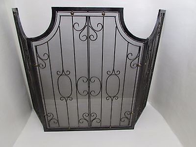 Vintage Black Wrought Iron Scrolls Metal and Mesh Fire Guard Foldable Screen