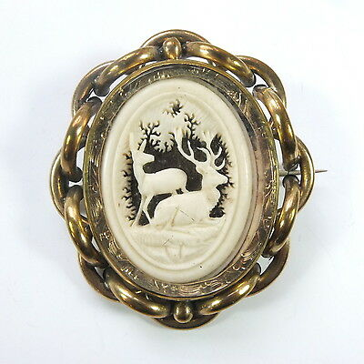 Fab Antique Victorian Large Pinchbeck Bovine Mourning Photo Locket Swivel Brooch