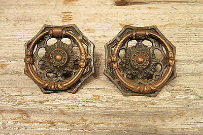 2 Vintage Ornate Brass Drawer Pulls Original Patina