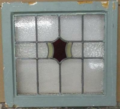 """OLD ENGLISH LEADED STAINED GLASS WINDOW Pretty Abstract Geometric 20.5"""" x 19.25"""""""