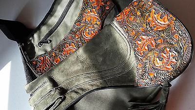 "Falconry glove 17"" and hawking bag    oak leaf design double all sizes"