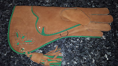 "Falconry 15"" glove tan leather triple layered all sizes for left hand #08"
