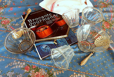 5 Vintage French Jelly Jars Tapering Sides Faceted Glass Group for 'Confiture