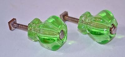 2 Antique Green Depression Glass Drawer Cabinet Pull Knob 6 Facets