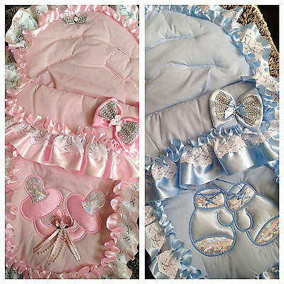 PINK,BLUE,WHITE 1st size or LARGE BABY'S ROMANY BLING COSY TOES/FOOTMUFF 3-IN-1