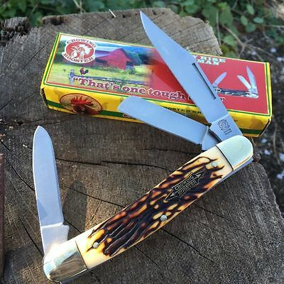"Vintage Re-Issue CROWING ROOSTER 4 1/2"" STOCKMAN Pocket Knife IMT STAG CR-066IS"