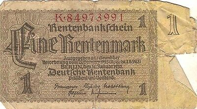 Germany Deutches Reich 1937 1 Mark Bank Note