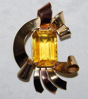 Art Deco Coro Gold Plated Fur Clip with Large Amber Glass