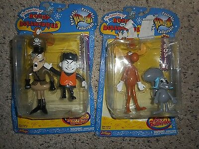 Justoys Rocky and Bullwinkle Bend-ems Fearless Leader, Boris, Lot of 4 figures