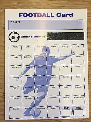 40 Team Football Fund Raising Charity Event Scratch Cards Packs Of 10, 20,50,100