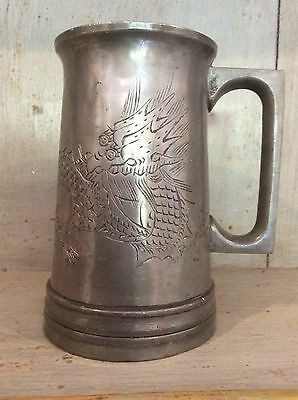 Engraved DRAGON PEWTER MUG STEIN by SWATOW signed HKHEUND TANKARD (Glass Bottom)