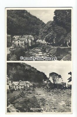 aj0104 - Lynmouth , Devon before the flood in 1952 and after in 1953 - postcard