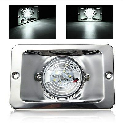 White LED Square Marine Stainless Steel Transom Ship Lights Boat Lamp Waterproof