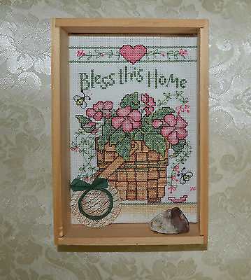 Finished In Primitive Shadow Box Wood Frame Small Cross Stitch BLESS THIS Home