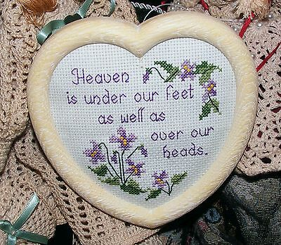 """Small Inspirational Finished  Cross Stitch """"Heaven is..."""" Heart Shaped Frame"""
