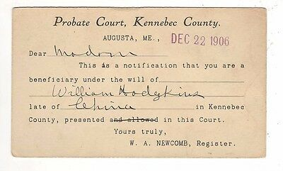 1906 – Probate Court, Kennebec County, Maine Postal Card