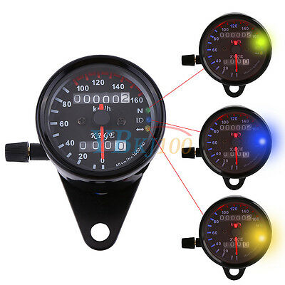DC 12V Universal 160 km/h Motorbike Dual Odometer Speedo Gauge  LED Backlight AM