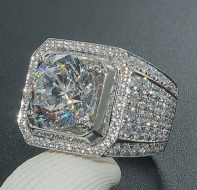 925 Silver Natural White Topaz Wedding Engagement Women Men Ring Size 6-10