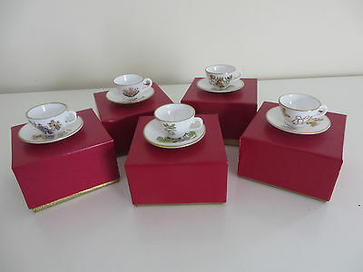 5 Miniature Caverswall Cups And Saucers - Mother's Day, Christmas, Easter, Etc