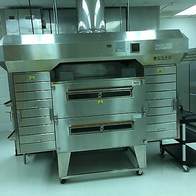XLT Double Stacked 3255 Conveyor Pizza Nat Gas Oven with VFD AVI Hood and Shroud