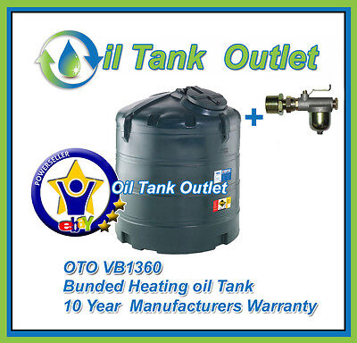 OTO Domestic Heating Oil Storage Tank  ~1360lts Vertical  Bunded