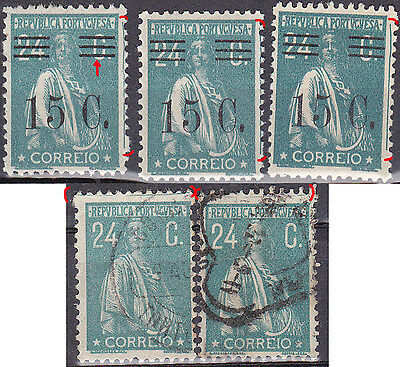 Portugal 1920/28 24C ceres stamps line print error lot--  MH/VFU all no faults
