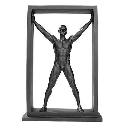 Confinement Collection: Nude Male Form Standing Pushing Limits Modern Statue