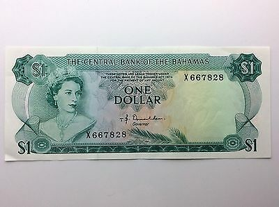 1974 Central Bank Of Bahamas One 1 Dollar X Series Uncirculated Banknote A937